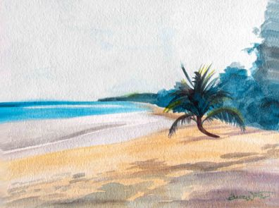beach painting, beach art, tropical beach painting, palm tree painting, beach watercolor, tropical painting, artist dave white, dave white art