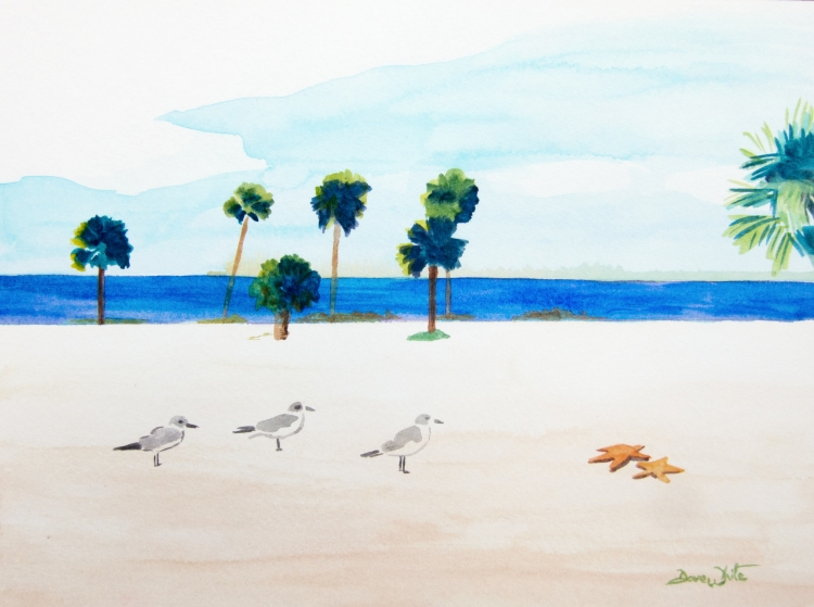 honeymoon island, florida art, florida beach, beach painting, beach art, florida beach painting, florida painting, florida art, pinellas