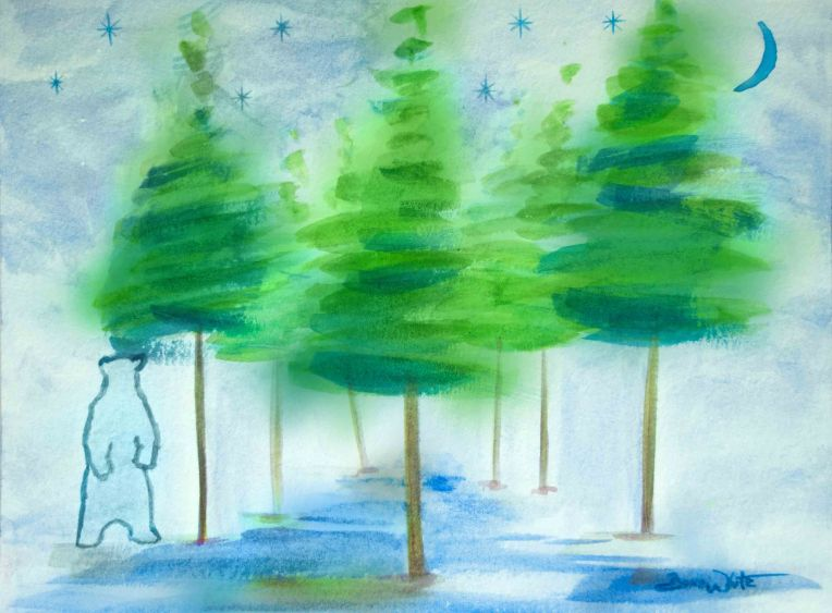 forest painting, forest art, evergreen painting, polar bear painting, polar bear art