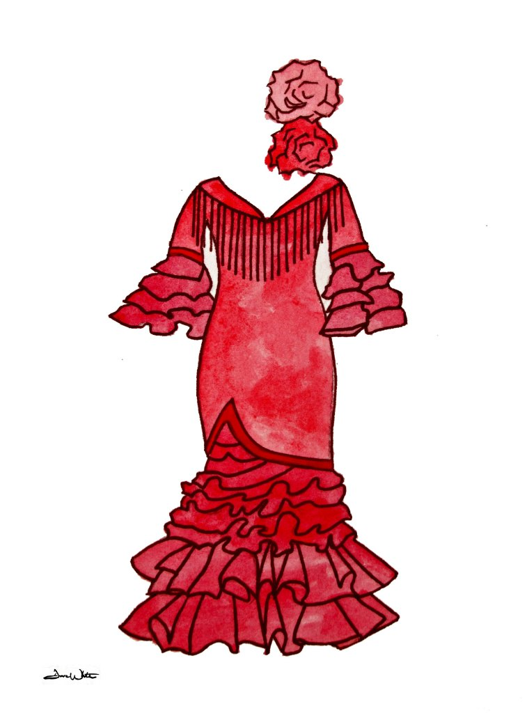 flamenco dress, flamenco art, flamenco painting, flamenco illustration, fashion art, costume art, flamenco drawing, red dress, red flamenco dress