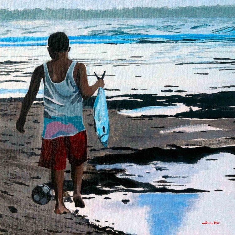 beach painting, beach art, costa rica art, costa rica painting