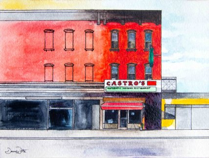 castro's brooklyn, castro's mexican restaurant, brooklyn painting, brooklyn watercolor, brooklyn art, brooklyn street