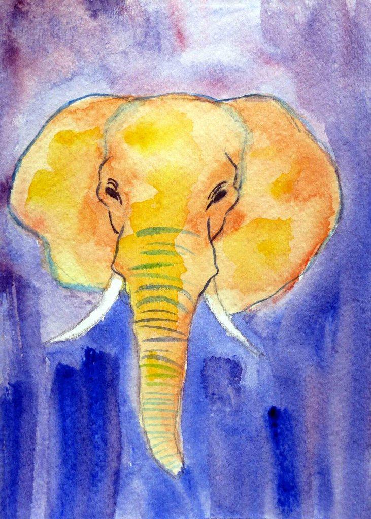elephant, elephant painting, elephant art, elephant watercolor