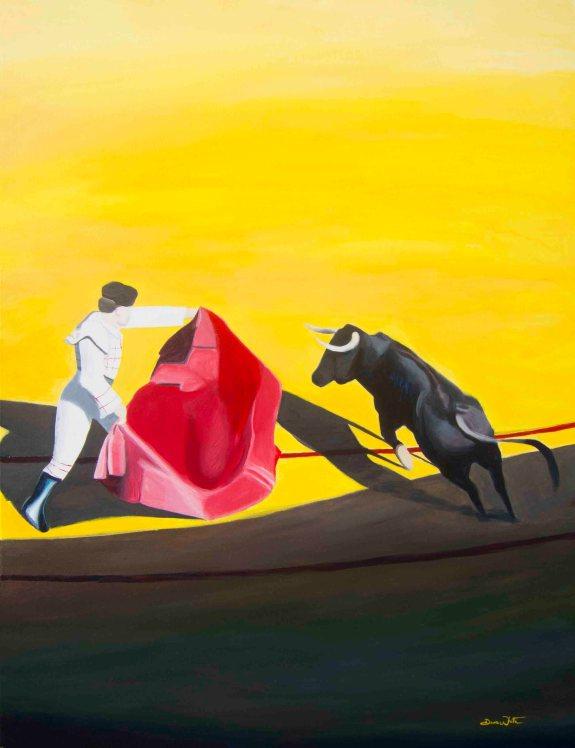 bullfight art, bullfight painting, spanish bullfight, spain art, spain painting, spain bullfight, sevilla, seville, plaza de la maestranza
