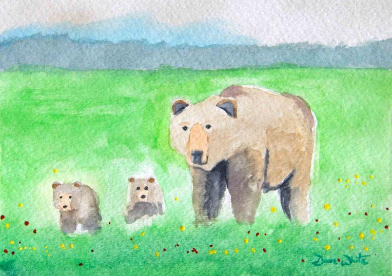 bear cubs, bear painting, bear art, bears painting, bear cubs painting, animal art, animal painting