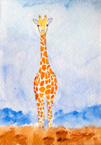 giraffe, giraffe painting, giraffe art, giraffe watercolor