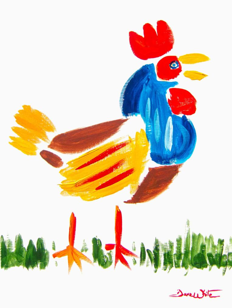 rooster painting, rooster art, colorful animal painting, chicken painting, chicken art
