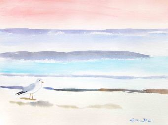 Seagull Pastel Colors, Watercolor Beach Painting