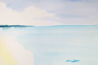 beach tonalism painting, beach watercolor, seascape tonalism, beach tonalism