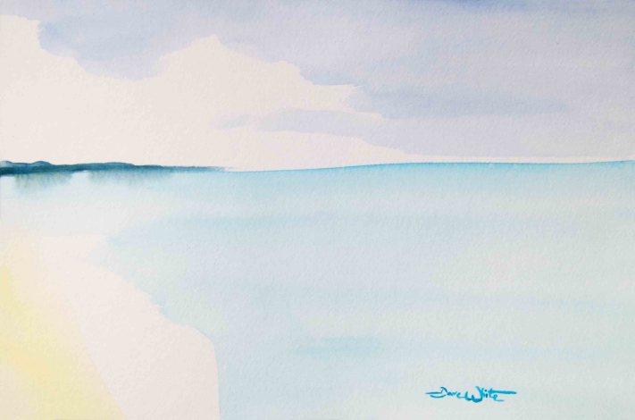 beach tonalism painting, beach watercolor, seascape tonalism, beach tonalism