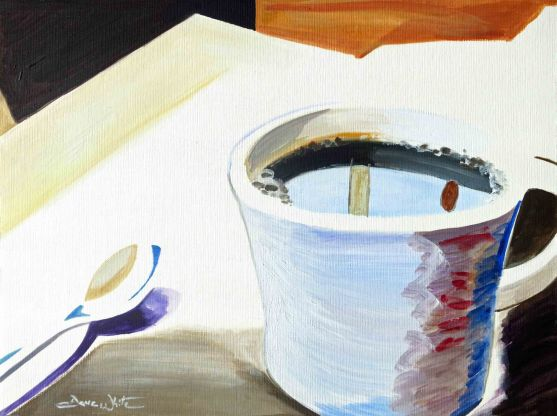 Family Meal Coffee, Oil Painting