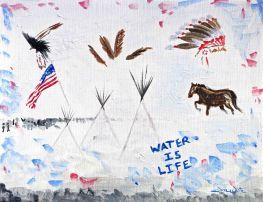 dakota access pipeline, dakota access pipeline art, dakota access pipeline painting, dapl, artist dave white