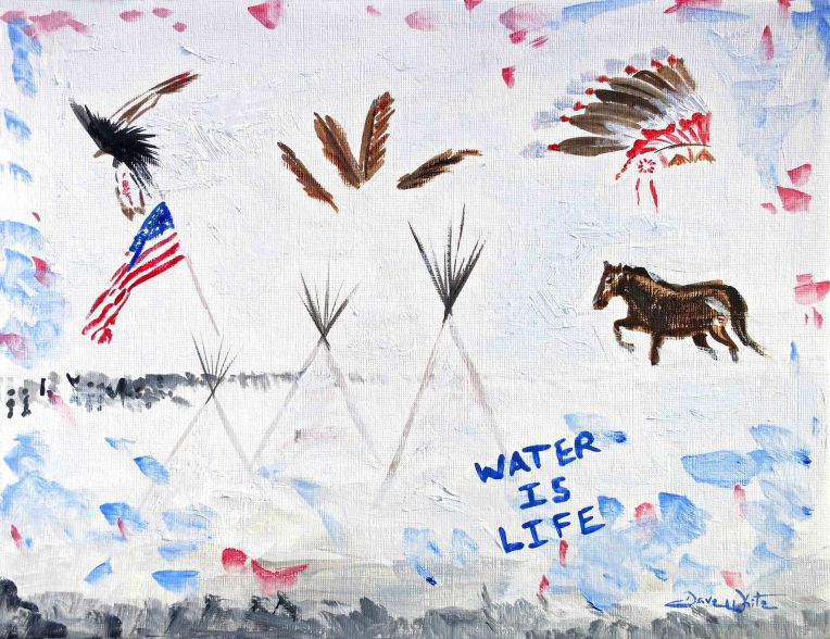 dakota access pipeline, dakota access pipeline art, dakota access pipeline painting, dapl, artist dave white