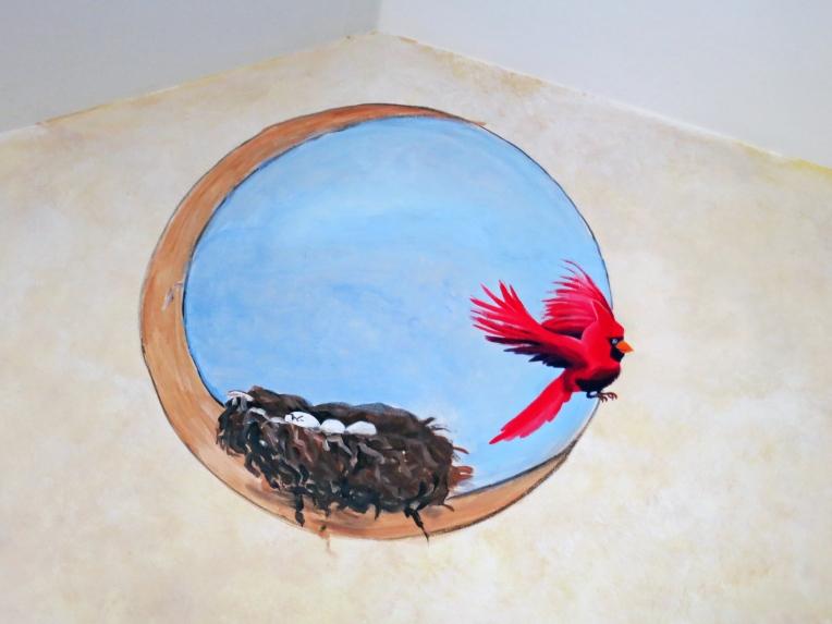 Close up of Cardinal Bird on Mural