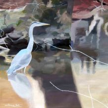 great blue heron, blue heron, bird painting, one loudoun, dave white, oil painting