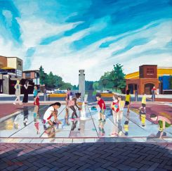 One Loudoun Plaza Oil Painting of Kids Playing with Water - Artist Dave White - Ashburn, VA
