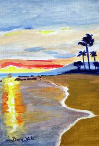 """tropical beach watercolor"", ""beach watercolor"", ""beach painting"""