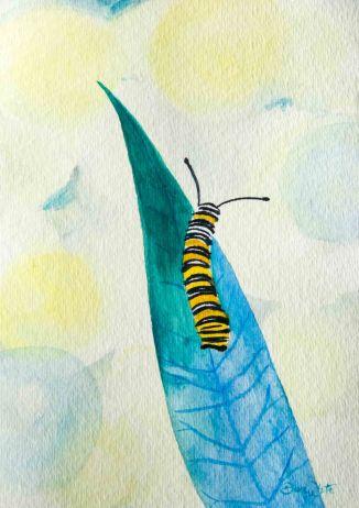 """caterpillar on a leaf"", ""caterpillar painting"", ""caterpillar art"""