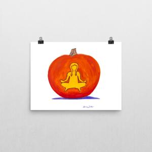 """halloween kids art print"", ""halloween kids art"", ""pumpkin art print"", ""halloween yoga art"", ""fall yoga art"", ""fall kids art"", ""easy pose art print"""