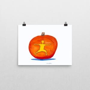 """""""halloween kids art print"""", """"halloween kids art"""", """"pumpkin art print"""", """"halloween yoga art"""", """"fall yoga art"""", """"fall kids art"""", """"warrior pose art print"""""""