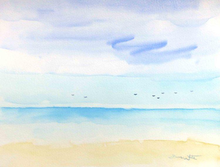 """""""beach painting"""", """"beach watercolor"""", """"ocean painting"""", """"ocean watercolor"""", """"artist dave white"""", """"dave white paintings"""", """"seascape painting"""", """"seascape watercolor"""""""