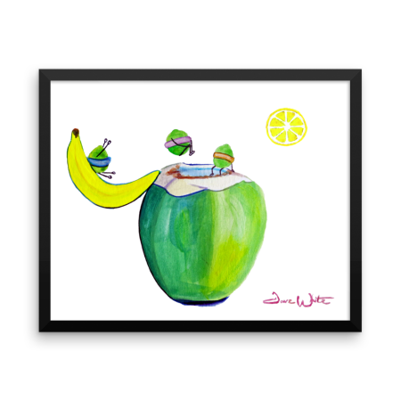 """funny food art"", ""coconut painting"", ""limes painting"", ""banana painting"", ""food humor art"""