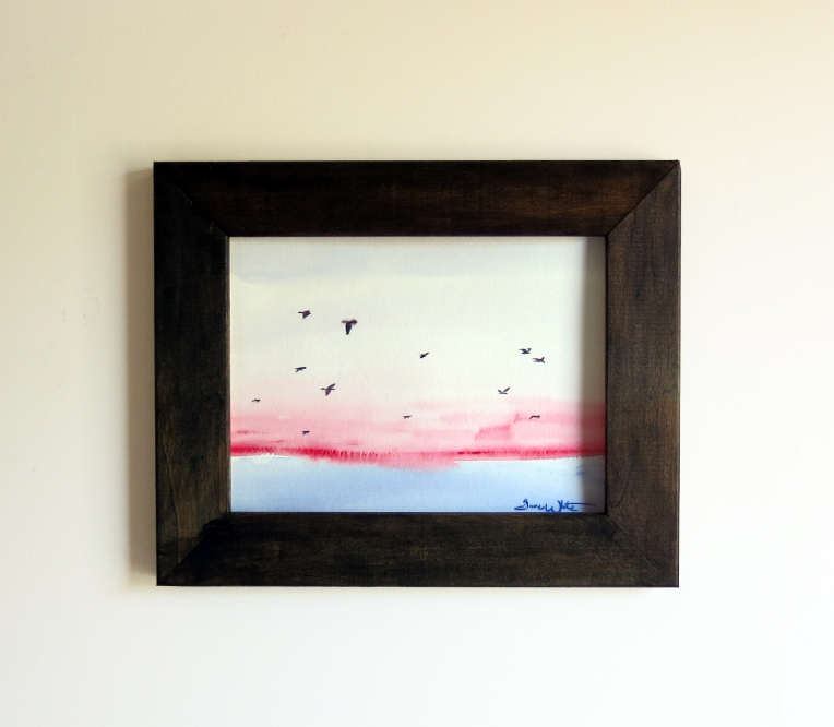 """framed seagulls painting"", ""seagulls painting"", ""framed ocean sunset painting"", ""framed seascape painting"", ""seascape painting wood frame"""