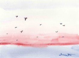 Seagulls Ocean Painting Watercolor