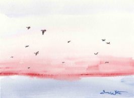 Seagulls Ocean Painting Watercolor