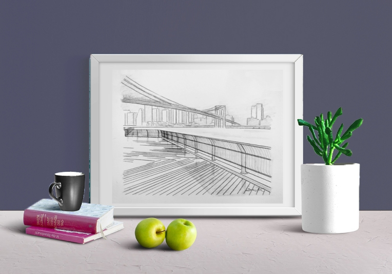 """brooklyn bridge drawing"", ""brooklyn bridge art"", ""hudson river art"", ""new york city drawing"", ""new york skyline drawing"", ""new york city art"""