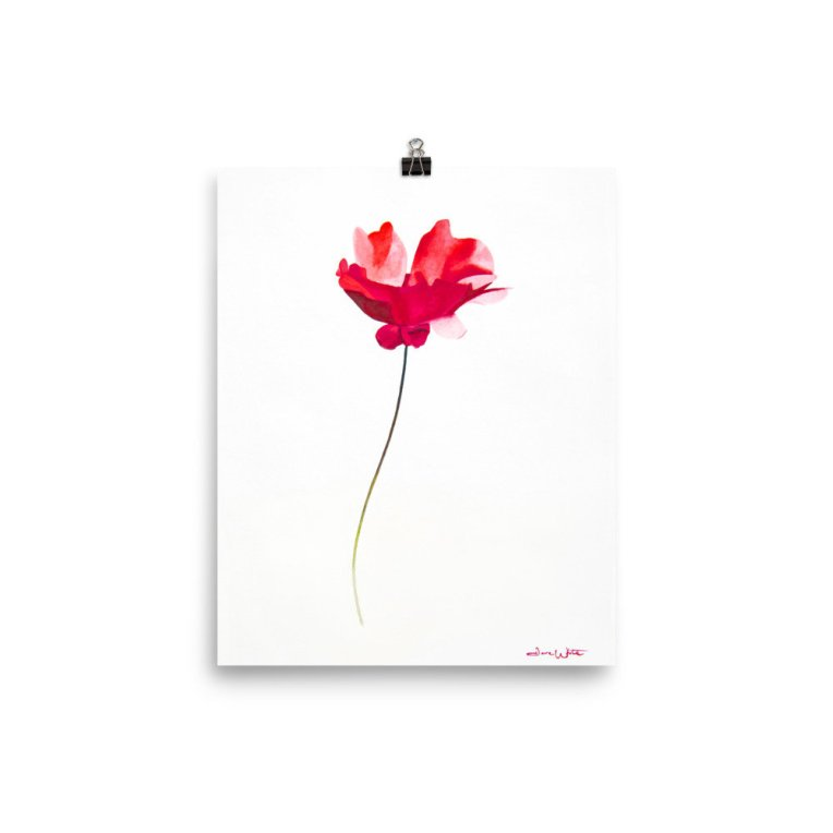 """red flower watercolor"""