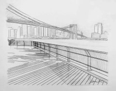 The Hudson from Brooklyn on a Foggy Day, Pencil Drawing