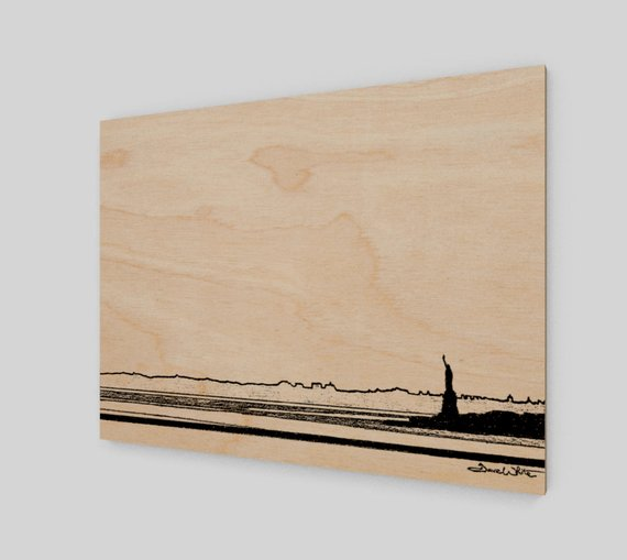 """statue of liberty wood print"", ""statue of liberty wood wall art"", ""new york city wood wall art"", ""new york city wood print"""