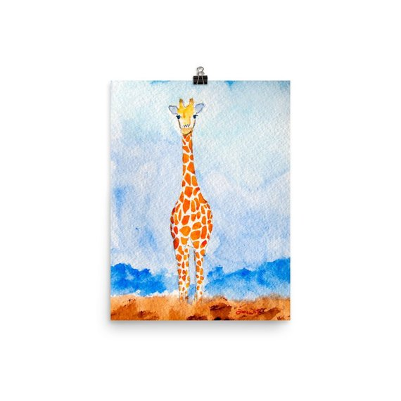 giraffe kids art, giraffe watercolor, giraffe nursery art