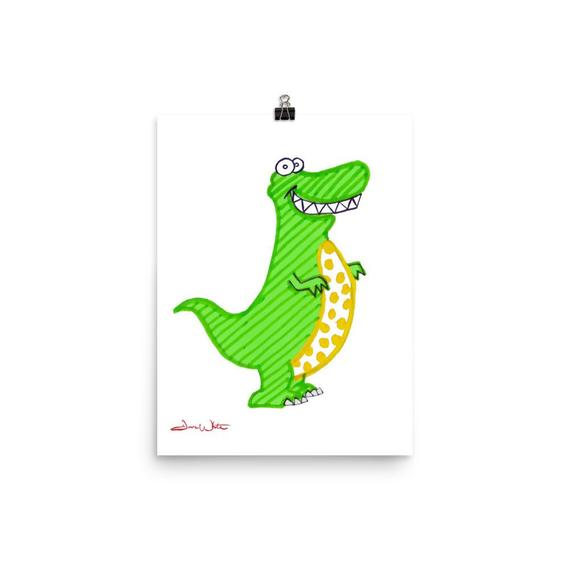 kids dinosaur art, t rex kids art, dinosaur nursery art