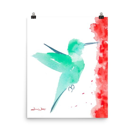 hummingbird watercolor, hummingbird kids art, hummingbird nursery art, hummingbird art print