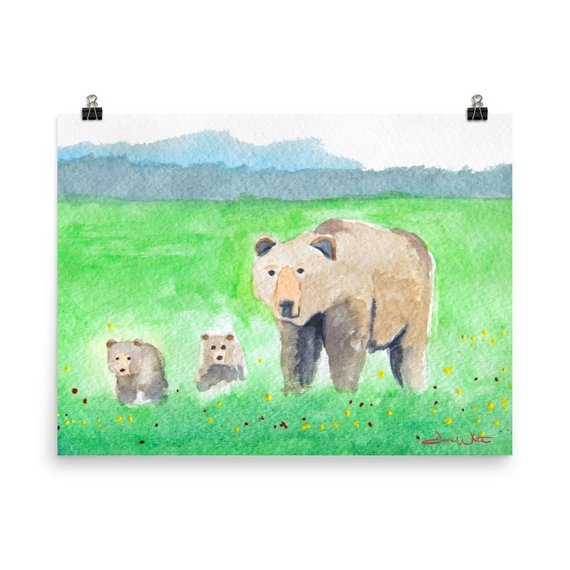 mama bear kids art, bear kids art, bear family art, mama bear watercolor
