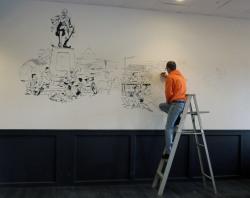 Artist Dave White Painting Malgudi Veg Mural