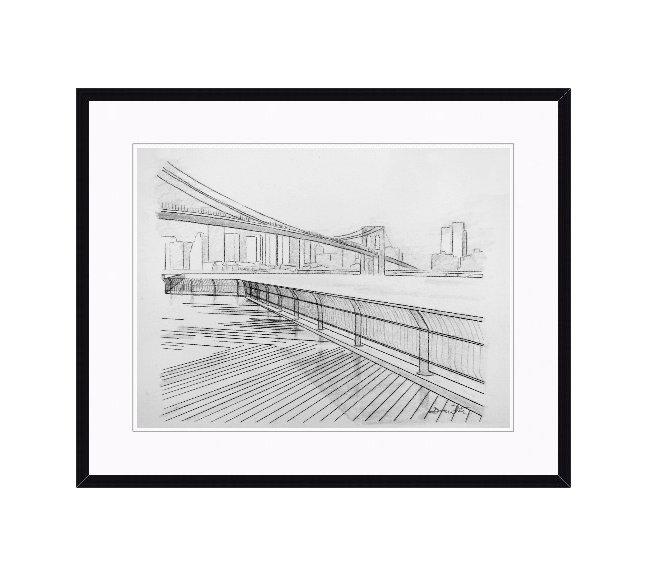 """framed brooklyn bridge art"", ""brooklyn bridge drawing"""