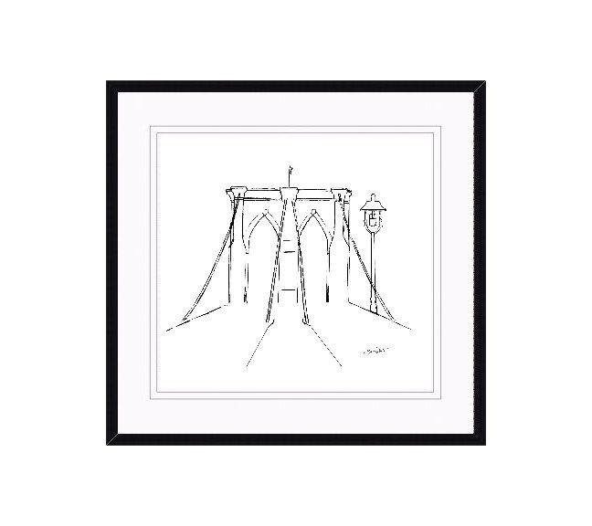 """framed brooklyn bridge art"", ""brooklyn bridge original art"", ""brooklyn bridge drawing"""