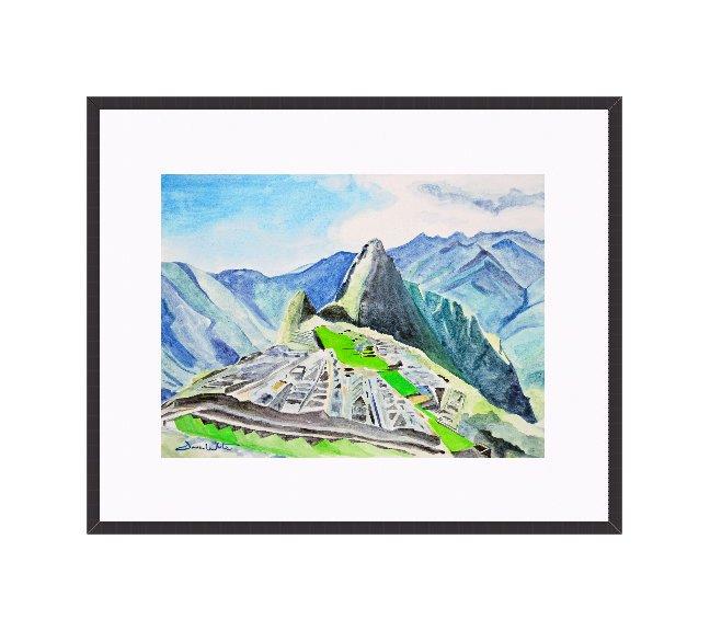 """""""machu picchu watercolor"""", """"framed machu picchu art"""", """"machu picchu artwork"""""""