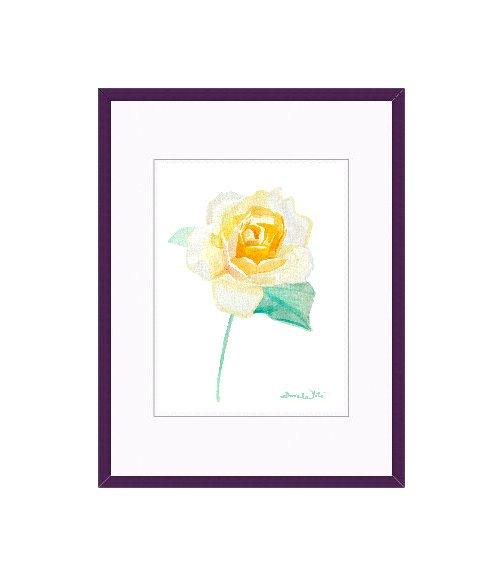 """orange rose watercolor painting"", ""framed orange rose painting"""