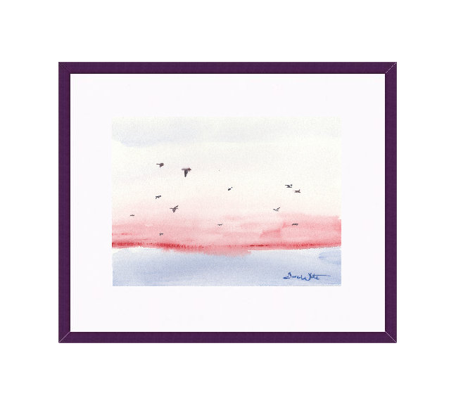 """seagulls painting"", ""framed seascape painting"", ""seascape watercolor"", ""seagulls watercolor"""