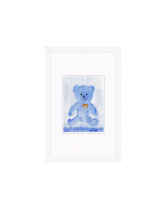 """teddy bear watercolor"", ""framed teddy bear painting"", ""framed nursery art"", ""teddy bear art"""