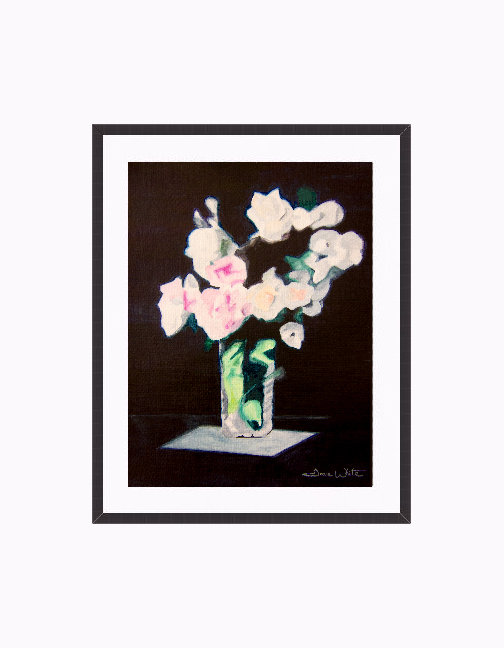 """white roses painting"", ""framed roses painting"""