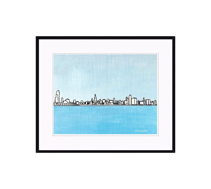 Framed Chicago Skyline Painting