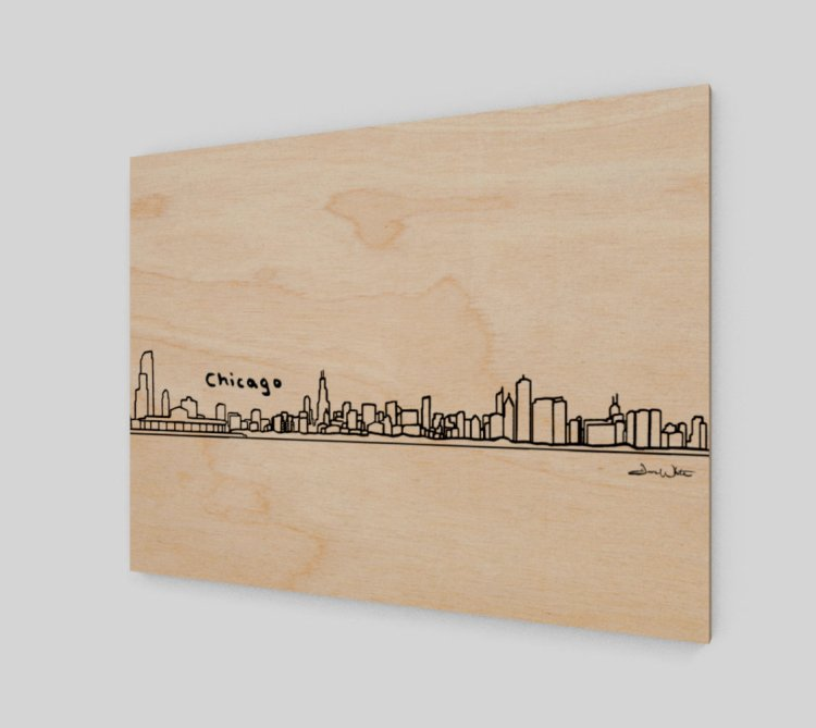 Chicago Skyline Wood Art Print