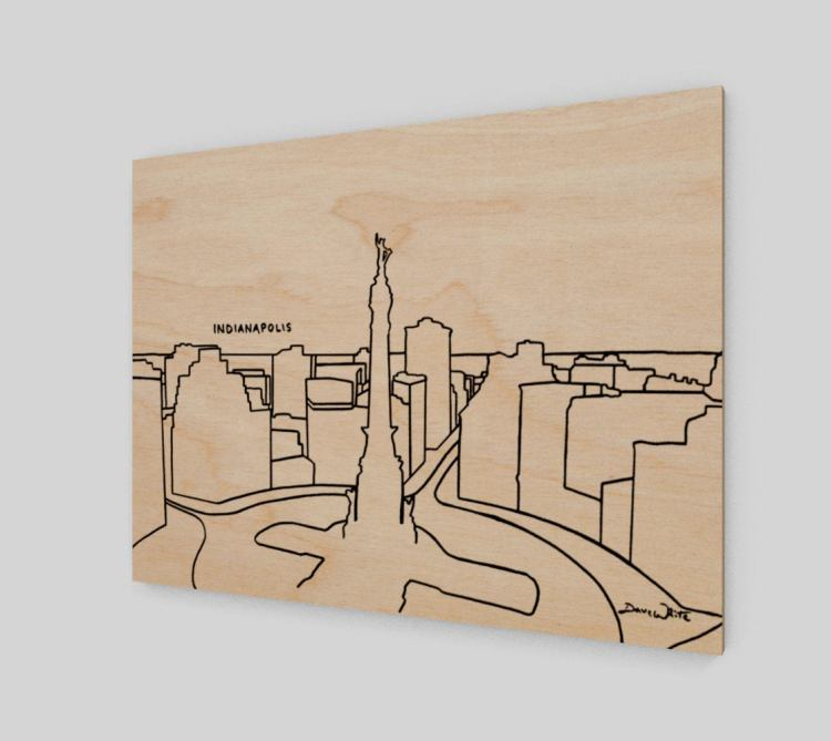 Indy Skyline Art Monument Circle Birch Wood Panel