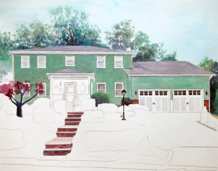 Progress Photo of House Painting Commission