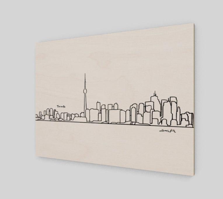 Toronto Skyline Art Print Birch Wood Panel